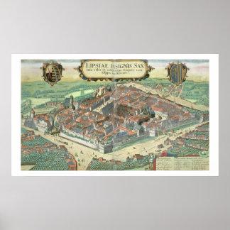 "Mapa de Leipzig, de ""Civitates Orbis Terrarum"" cer Póster"
