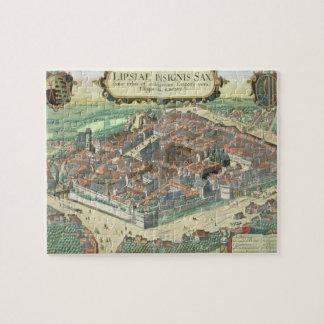 """Mapa de Leipzig, de """"Civitates Orbis Terrarum"""" cer Puzzle"""