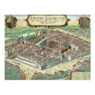 "Mapa de Leipzig, de ""Civitates Orbis Terrarum"" cer Postal"