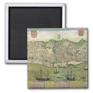 "Mapa de Lisboa, de ""Civitates Orbis Terrarum"" cerc Imanes"