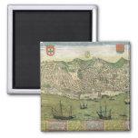 """Mapa de Lisboa, de """"Civitates Orbis Terrarum"""" cerc Imán Cuadrado"""