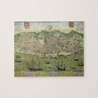 "Mapa de Lisboa, de ""Civitates Orbis Terrarum"" cerc Puzzle"