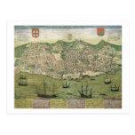 """Mapa de Lisboa, de """"Civitates Orbis Terrarum"""" cerc Tarjeta Postal"""