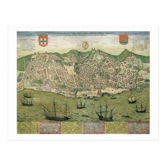 "Mapa de Lisboa, de ""Civitates Orbis Terrarum"" Postales"