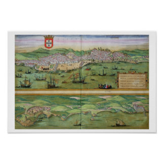Mapa de Lisboa, y Cascais, de 'Civitates Orbis Poster
