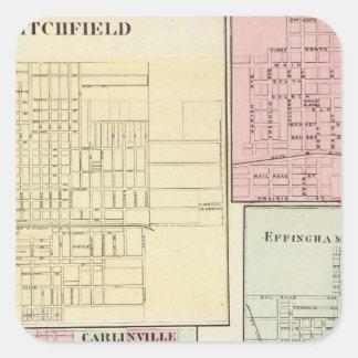Mapa de Litchfield, Carlinsville, Salem Pegatina Cuadrada