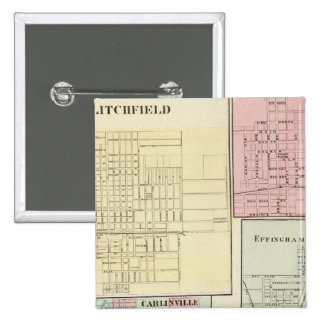 Mapa de Litchfield, Carlinsville, Salem Pin Cuadrada 5 Cm