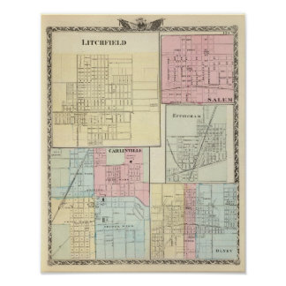 Mapa de Litchfield, Carlinsville, Salem Póster
