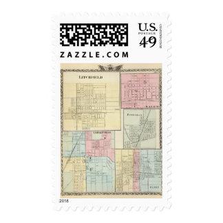 Mapa de Litchfield, Carlinsville, Salem Timbres Postales