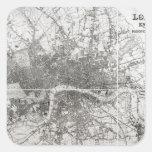 Mapa de Londres moderno y de sus alrededores, 1854 Pegatina Cuadrada