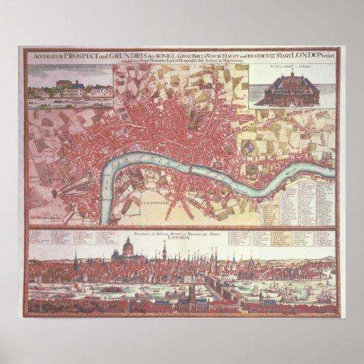Mapa de Londres Póster