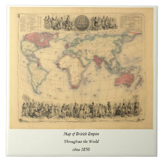 mapa de los 1850 s del Imperio británico en el mun Teja Ceramica
