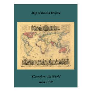 mapa de los 1850 s del Imperio británico en el mun Tarjeta Postal
