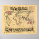 mapa de los 1850's del Imperio británico en el mun Impresiones