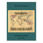 mapa de los 1850's del Imperio británico en el mun Tarjeta Postal