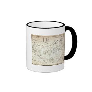 Mapa de los acuerdos traseros taza de café