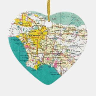 Mapa de Los Ángeles Adorno Navideño De Cerámica En Forma De Corazón