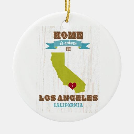 Mapa de Los Ángeles, California - casero es donde Adorno Navideño Redondo De Cerámica