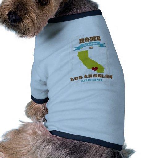 Mapa de Los Ángeles, California - casero es donde Camiseta Con Mangas Para Perro