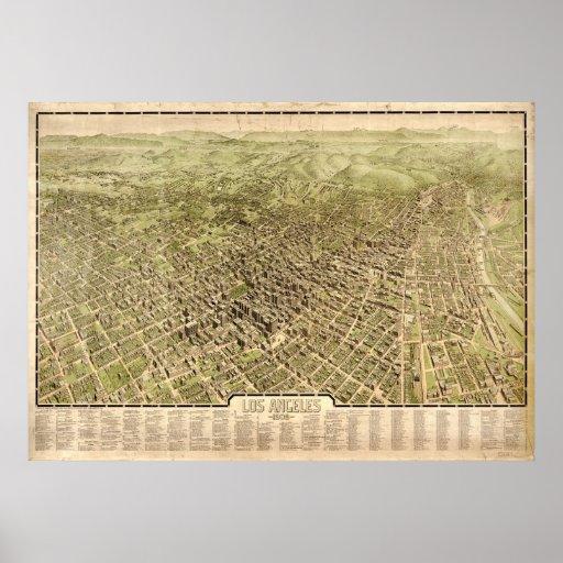 Mapa de Los Ángeles, Pájaro-Ojo View, 1909 Poster