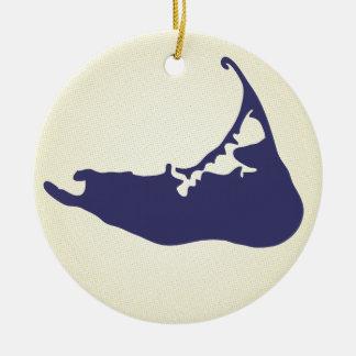 Mapa de los azules marinos de la isla de adorno navideño redondo de cerámica