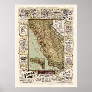 Mapa de los caminos de la bicicleta de California  Poster