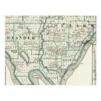 Mapa de los condados de Alexander y de Pulaski Tarjetas Postales