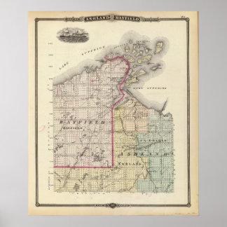 Mapa de los condados de Ashland y de Bayfield Póster