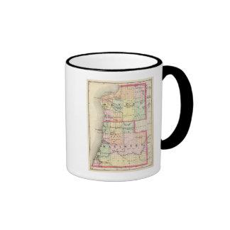 Mapa de los condados de Benzie y de Manistee, Mich Tazas De Café
