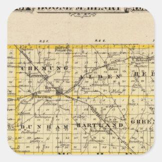 Mapa de los condados de Boone y de McHenry Pegatina Cuadrada
