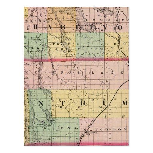 Mapa de los condados de Charlevoix y de Antrim, Mi Tarjeta Postal