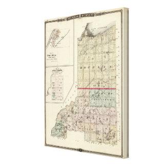 Mapa de los condados de Douglas y de Burnett Impresiones En Lona Estiradas