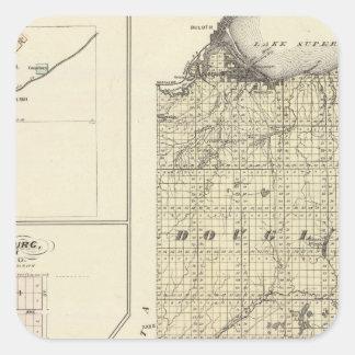 Mapa de los condados de Douglas y de Burnett Pegatina Cuadrada