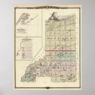 Mapa de los condados de Douglas y de Burnett Póster