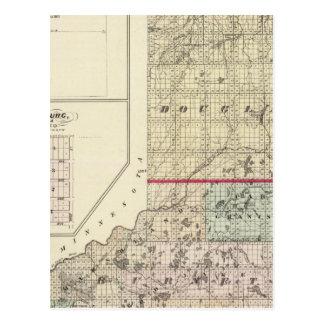 Mapa de los condados de Douglas y de Burnett Postales