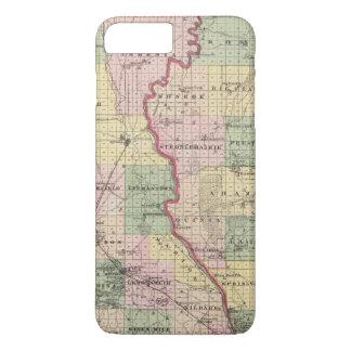Mapa de los condados de Juneau y de Adams Funda iPhone 7 Plus