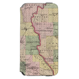 Mapa de los condados de Juneau y de Adams Funda Cartera Para iPhone 6 Watson