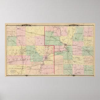 Mapa de los condados de madera y de Portage Poster