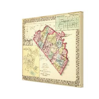 Mapa de los condados de Morgan, de Berkeley, y de  Lienzo Envuelto Para Galerías