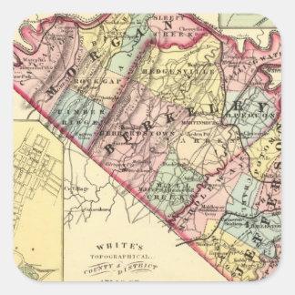 Mapa de los condados de Morgan, de Berkeley, y de Pegatina Cuadrada