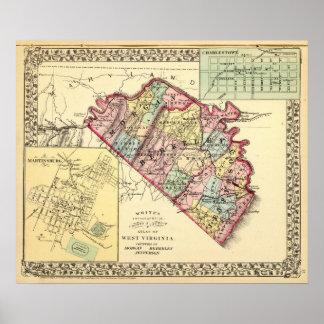 Mapa de los condados de Morgan, de Berkeley, y de  Póster