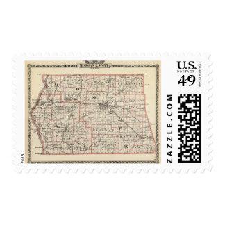 Mapa de los condados de Morgan y de Scott Estampillas