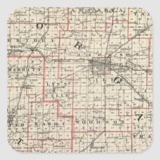 Mapa de los condados de Morgan y de Scott Pegatina Cuadrada