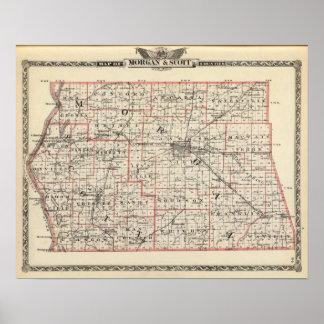 Mapa de los condados de Morgan y de Scott Póster