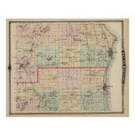 Mapa de los condados de Racine y de Kenosha Posters