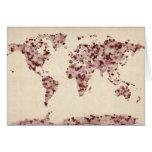 Mapa de los corazones del amor del mapa del mundo tarjetón