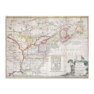 Mapa de los dominios británicos en 1763 impresión en lona estirada