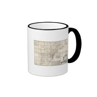 Mapa de los dominios británicos y franceses tazas de café