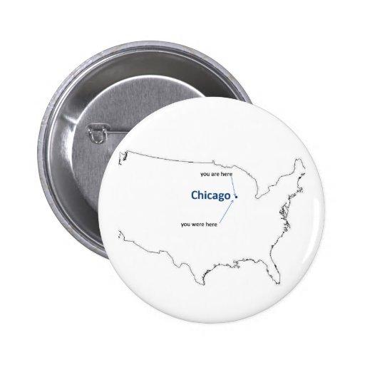 Mapa de los E.E.U.U. con Chicago en él Pins