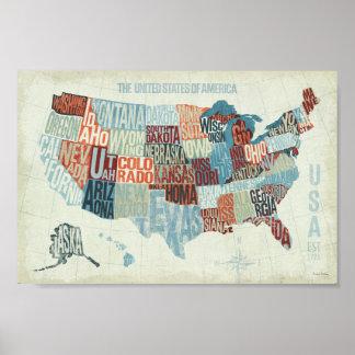Mapa de los E.E.U.U. con los estados en palabras Póster